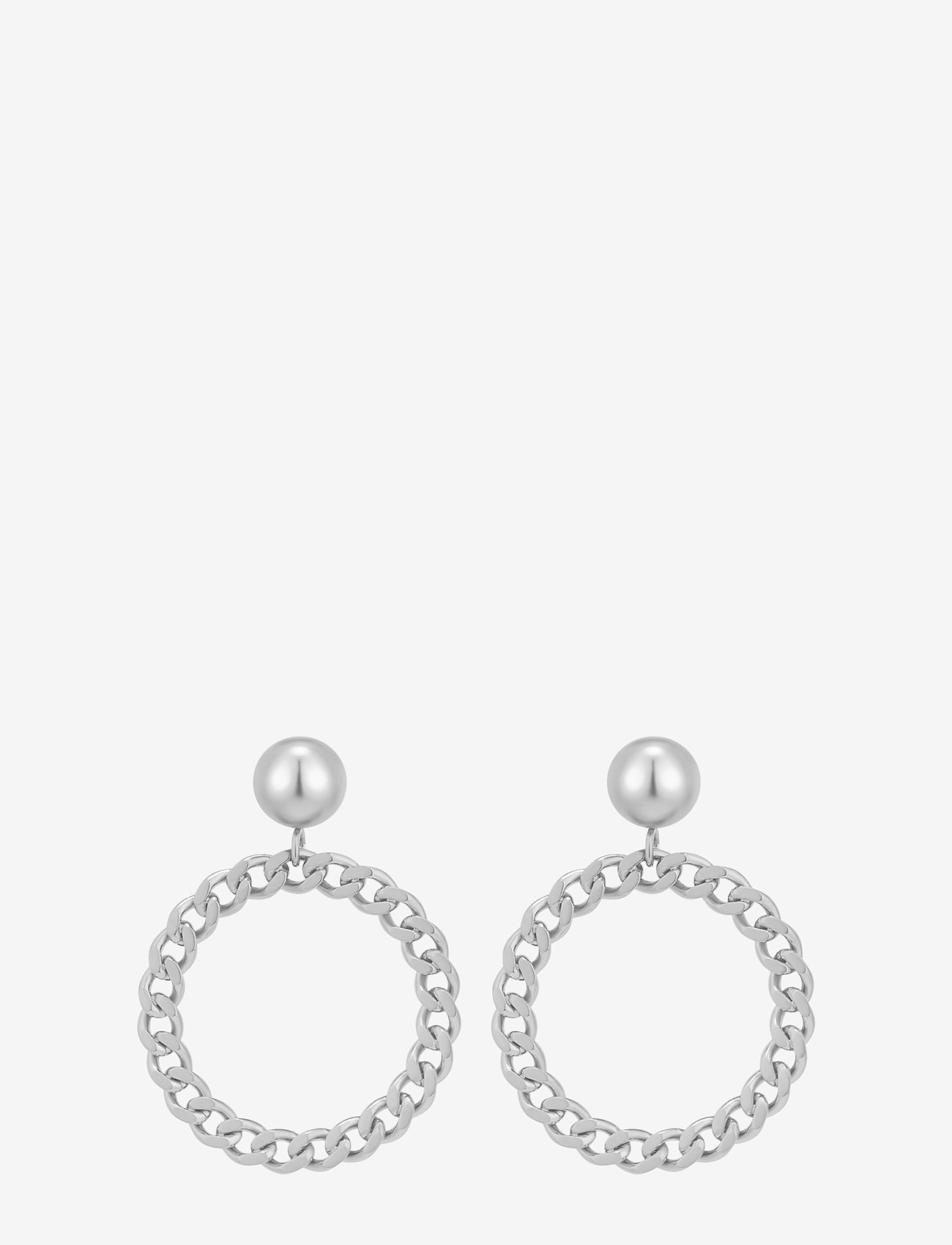 Bud to rose - Devious Chain Earring Steel - pendant - silver - 1