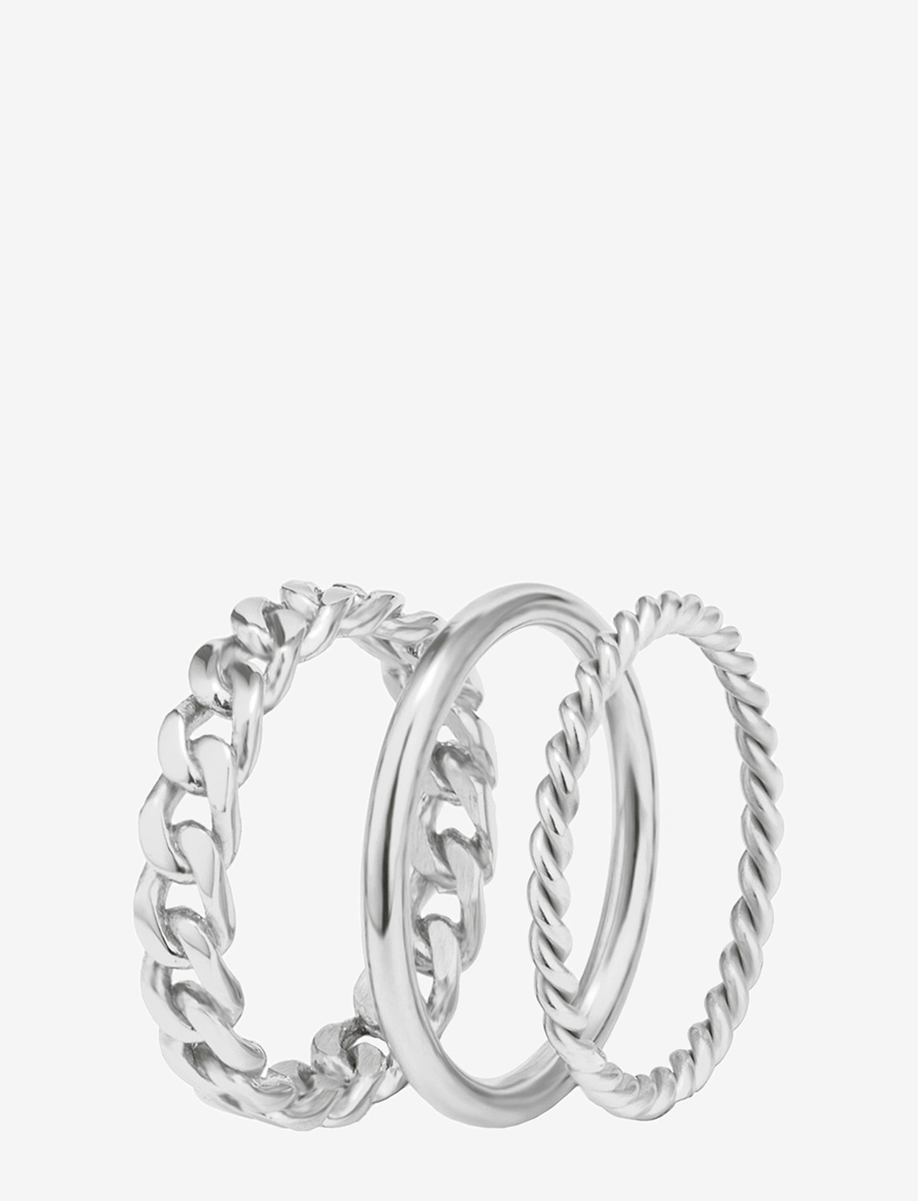 Bud to rose - Chain Trio Ring Steel - sormukset - silver - 0