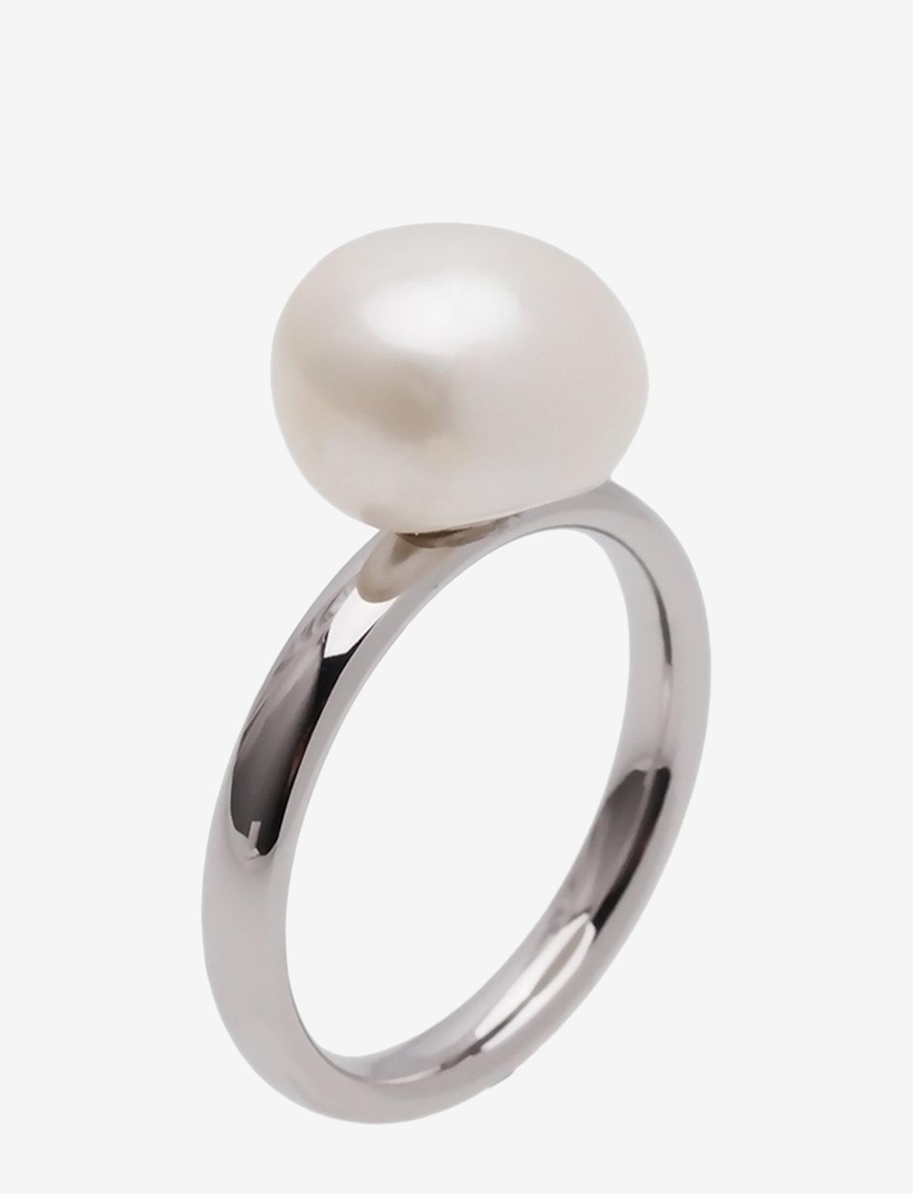 Bud to rose - Pearl Ring Steel - sormukset - silver - 0