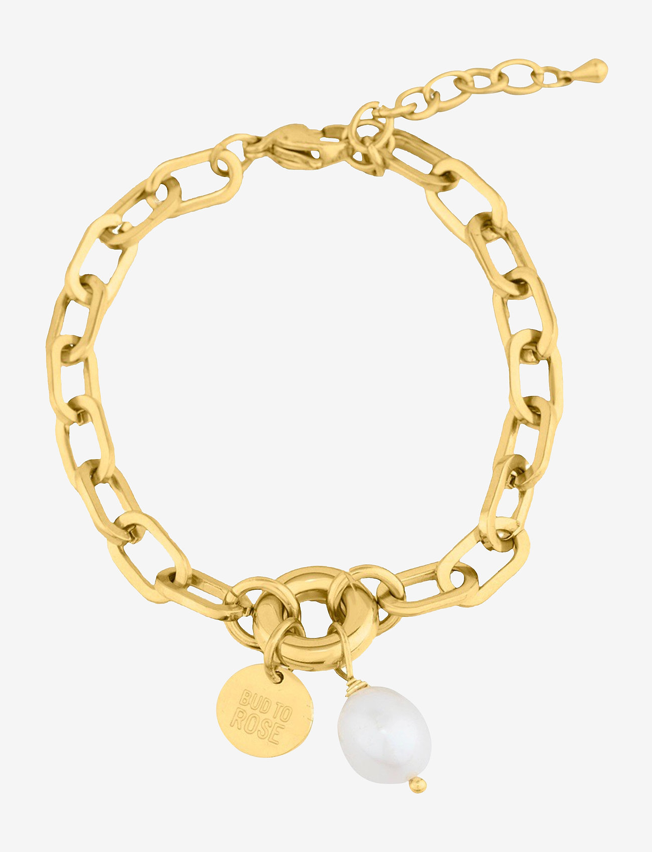 Bud to rose - Devious Pearl Link Bracelet - dainty - gold - 0
