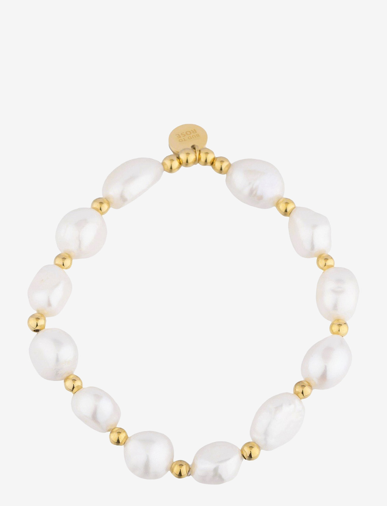 Bud to rose - Pearl Elastic Bracelet Gold - dainty - gold - 0