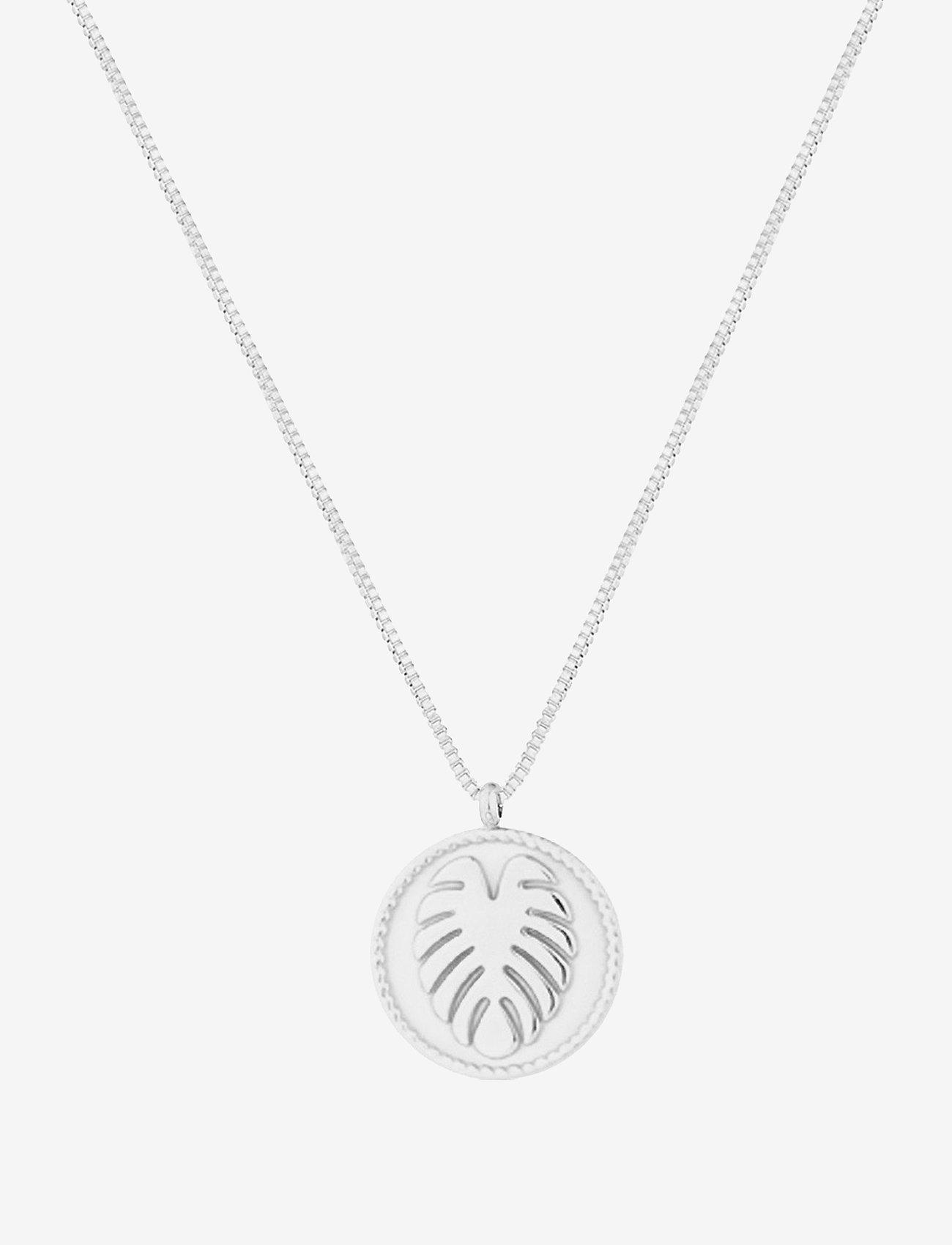 Bud to rose - Palmleaf Coin Short Necklace - kettingen met hanger - silver - 0