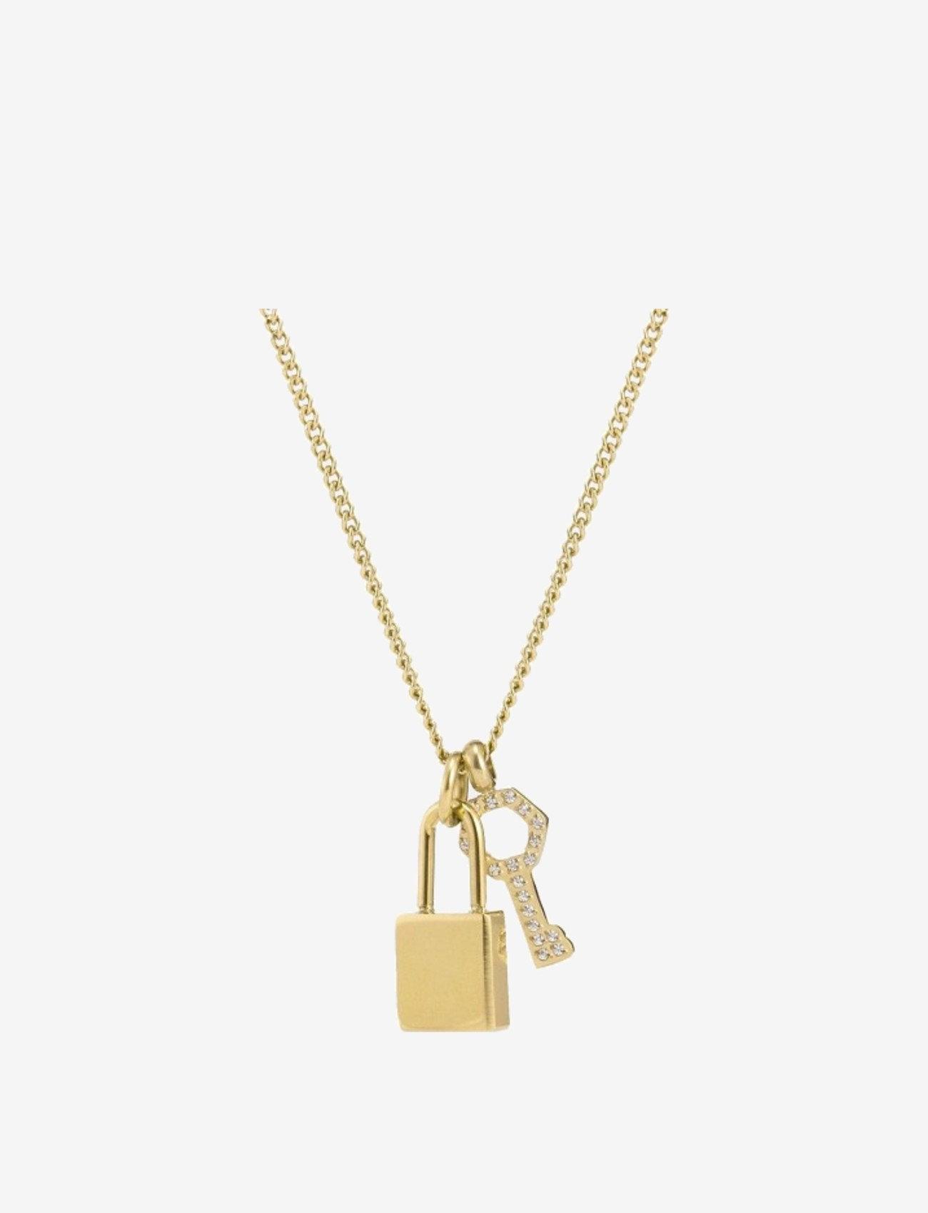 Bud to rose - Love Lock Necklace Steel - kettingen met hanger - gold - 1