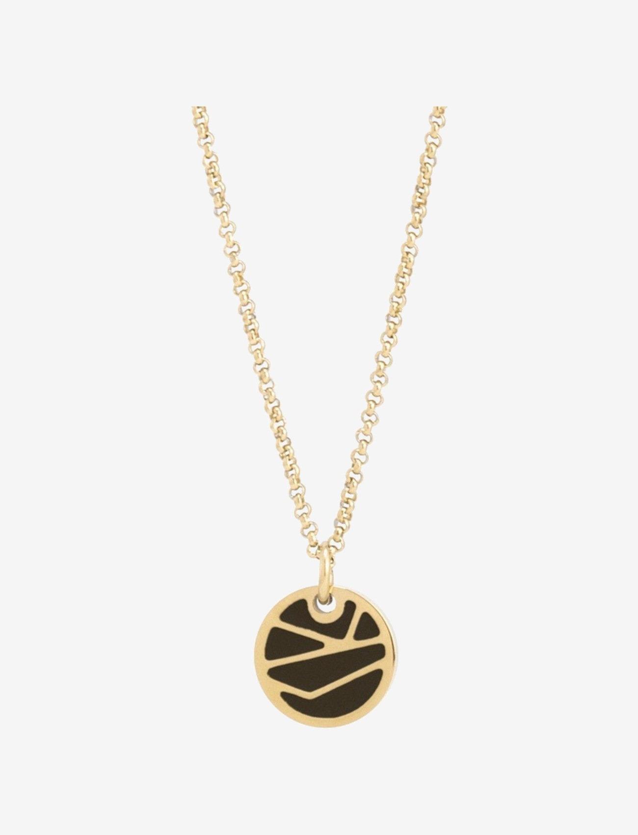 Bud to rose - Rose Enamel Short Necklace Black/Gold - kettingen met hanger - gold - 0