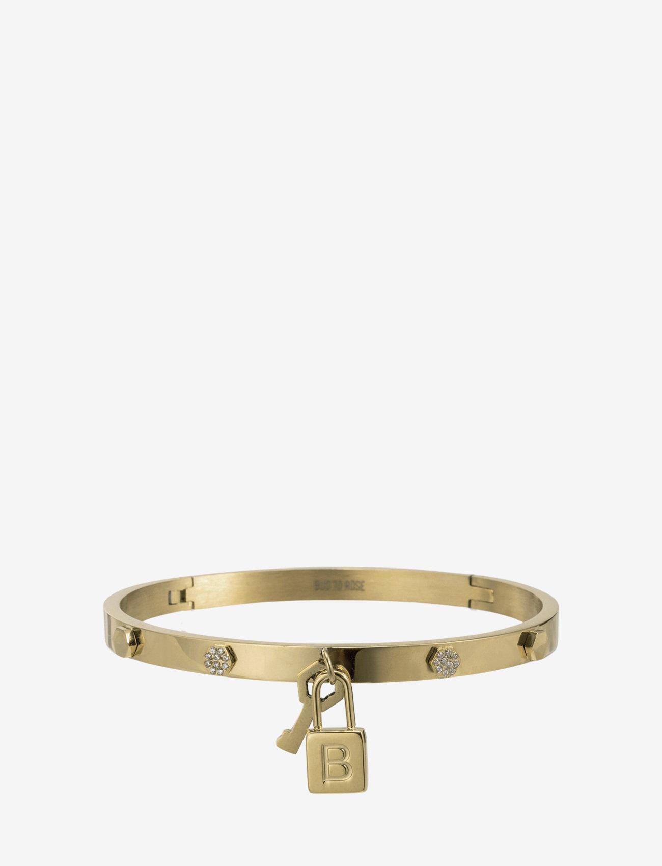 Bud to rose - Love Lock Bangle Steel - bangles - gold - 1