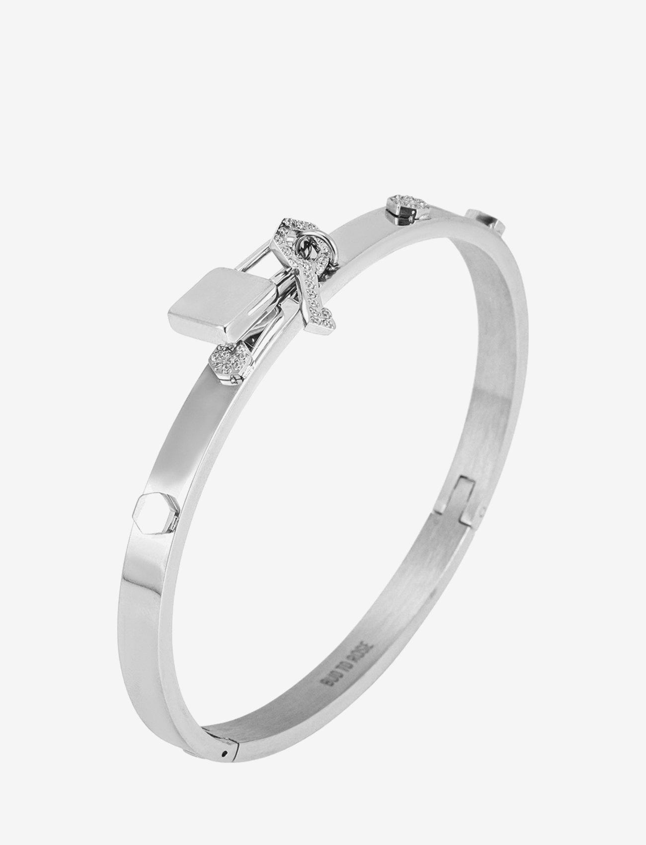 Bud to rose - Love Lock Bangle Steel - bangles - silver - 0