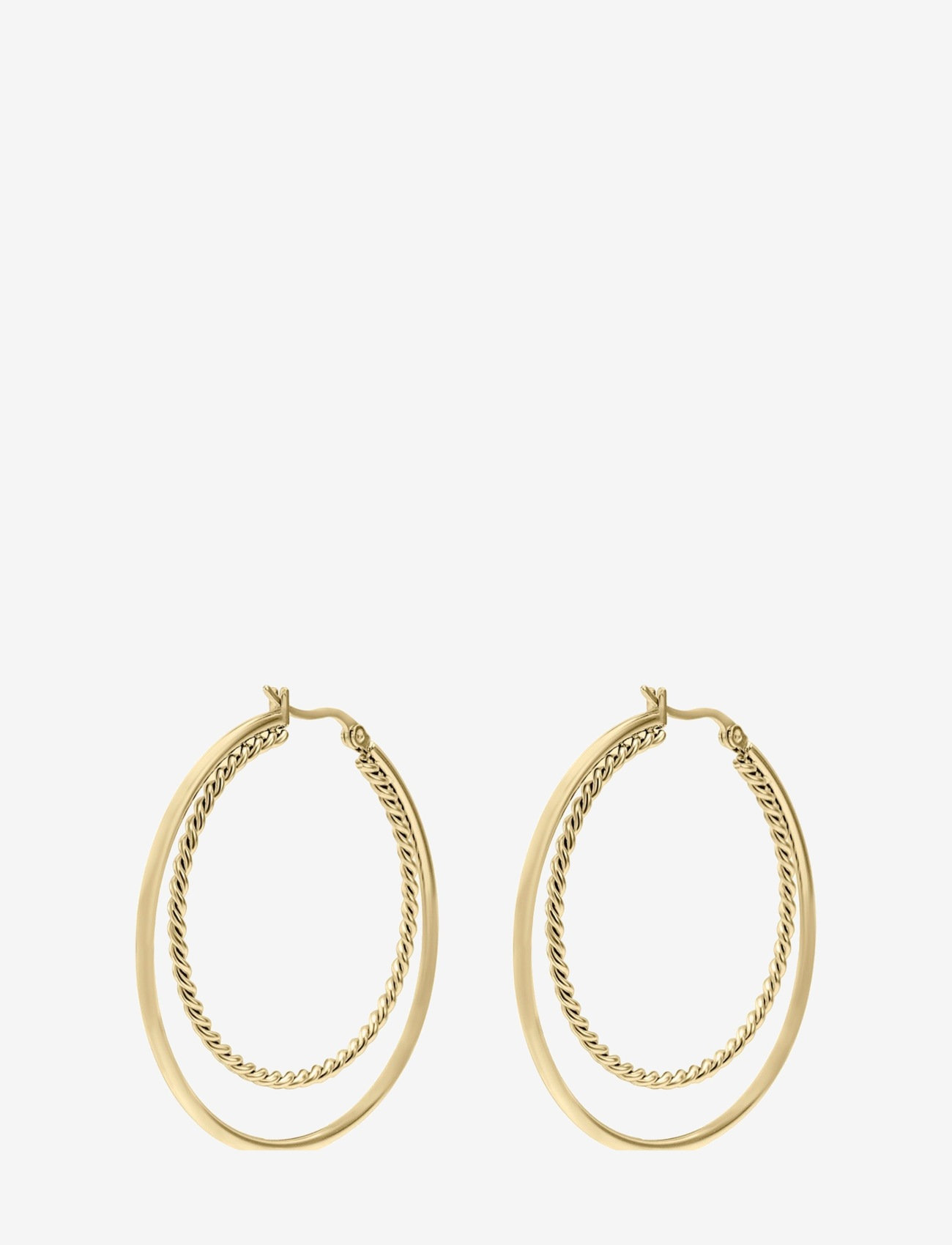 Bud to rose - Double Hoop Earring Gold - creoler - gold - 0