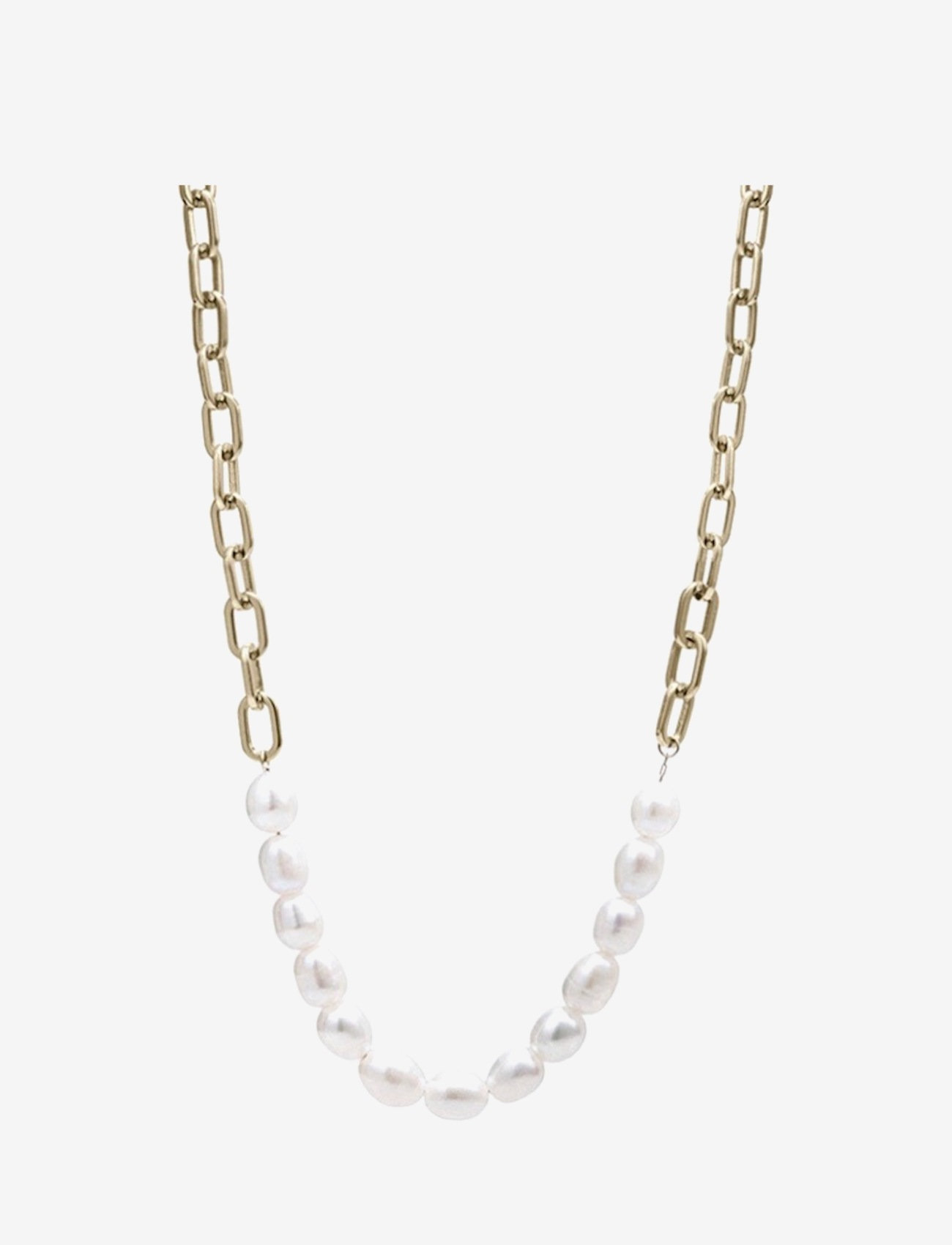 Bud to rose - Pearl Link Necklace Steel - kettingen  - gold - 0