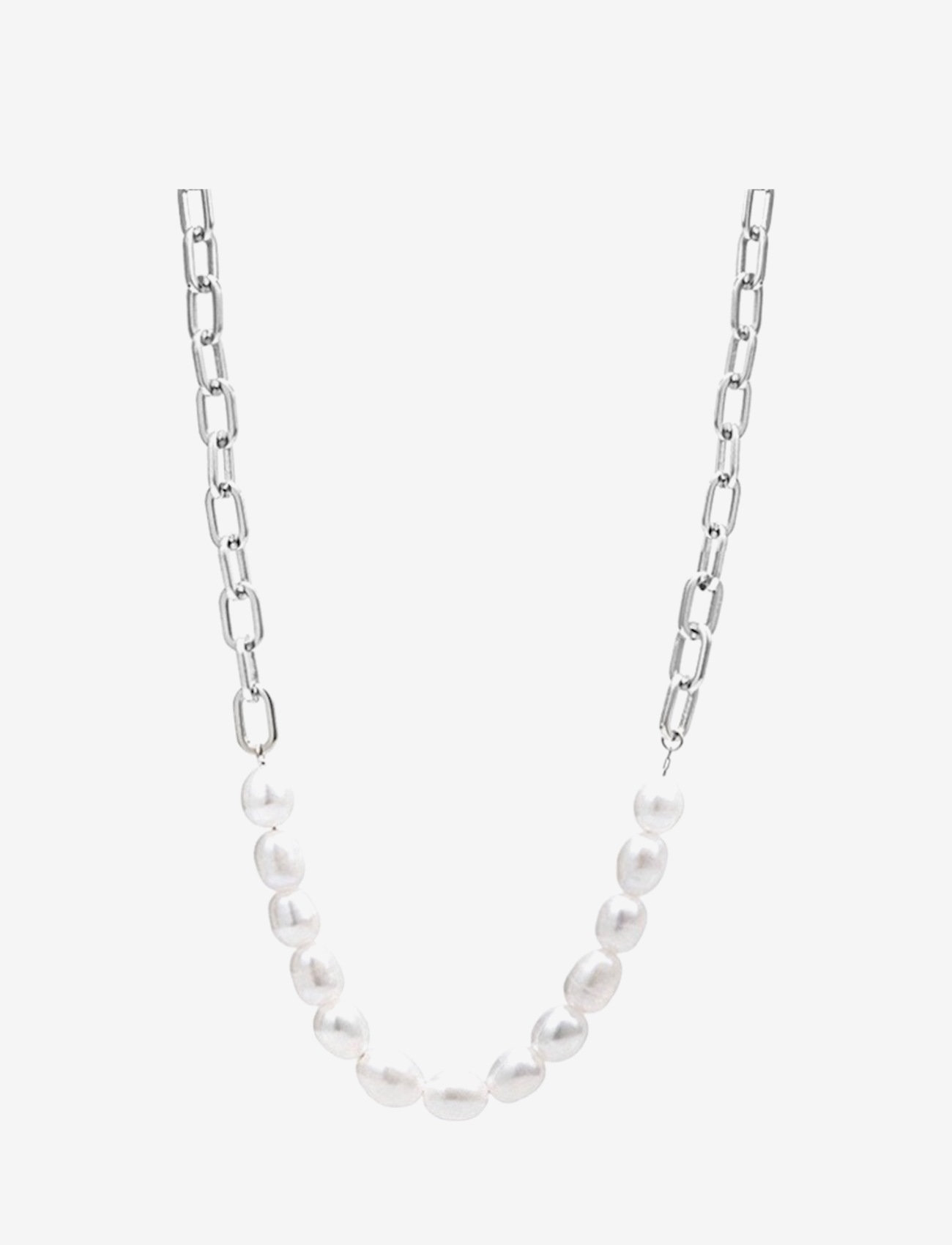 Bud to rose - Pearl Link Necklace Steel - kettingen  - silver - 0