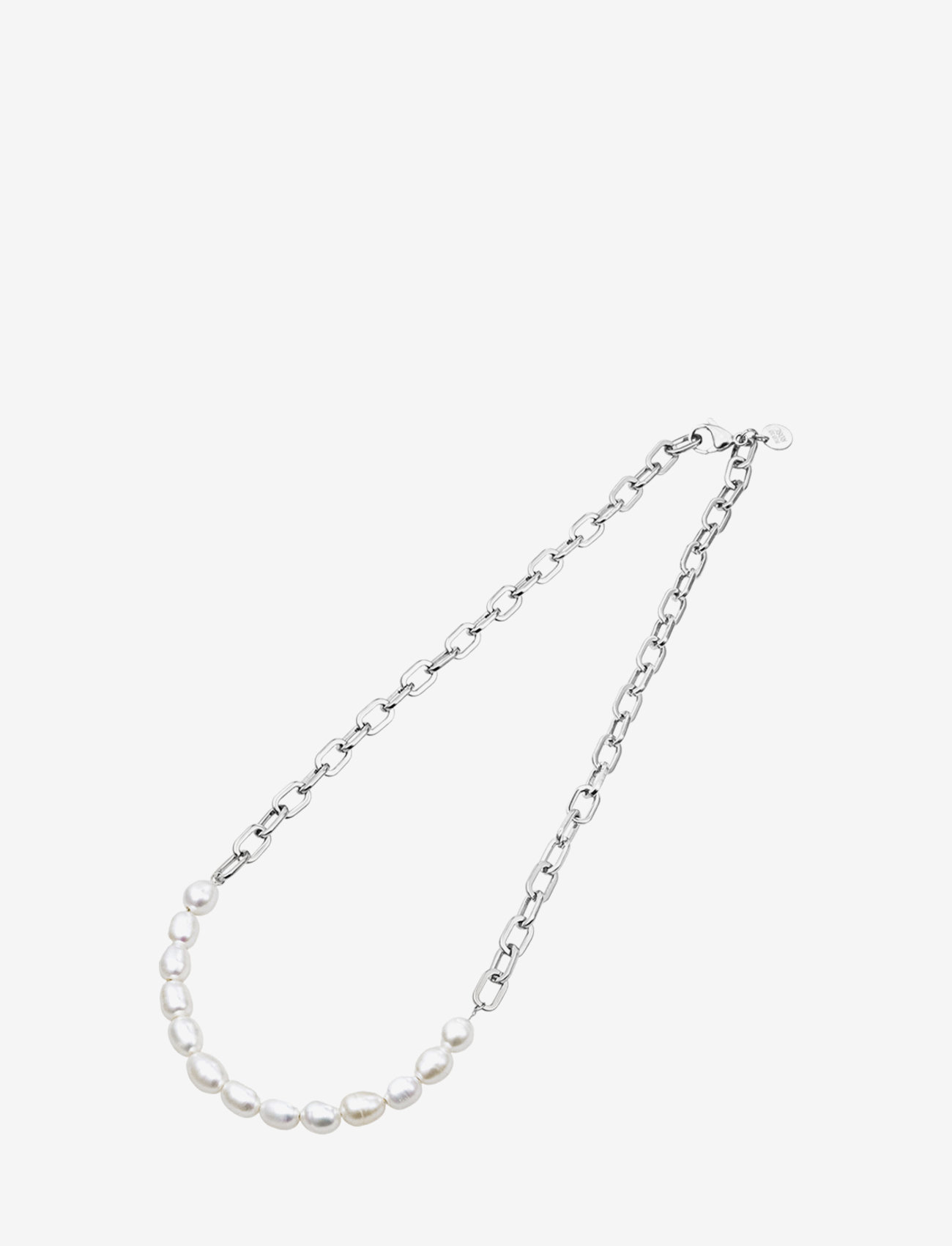 Bud to rose - Pearl Link Necklace Steel - kettingen  - silver - 1