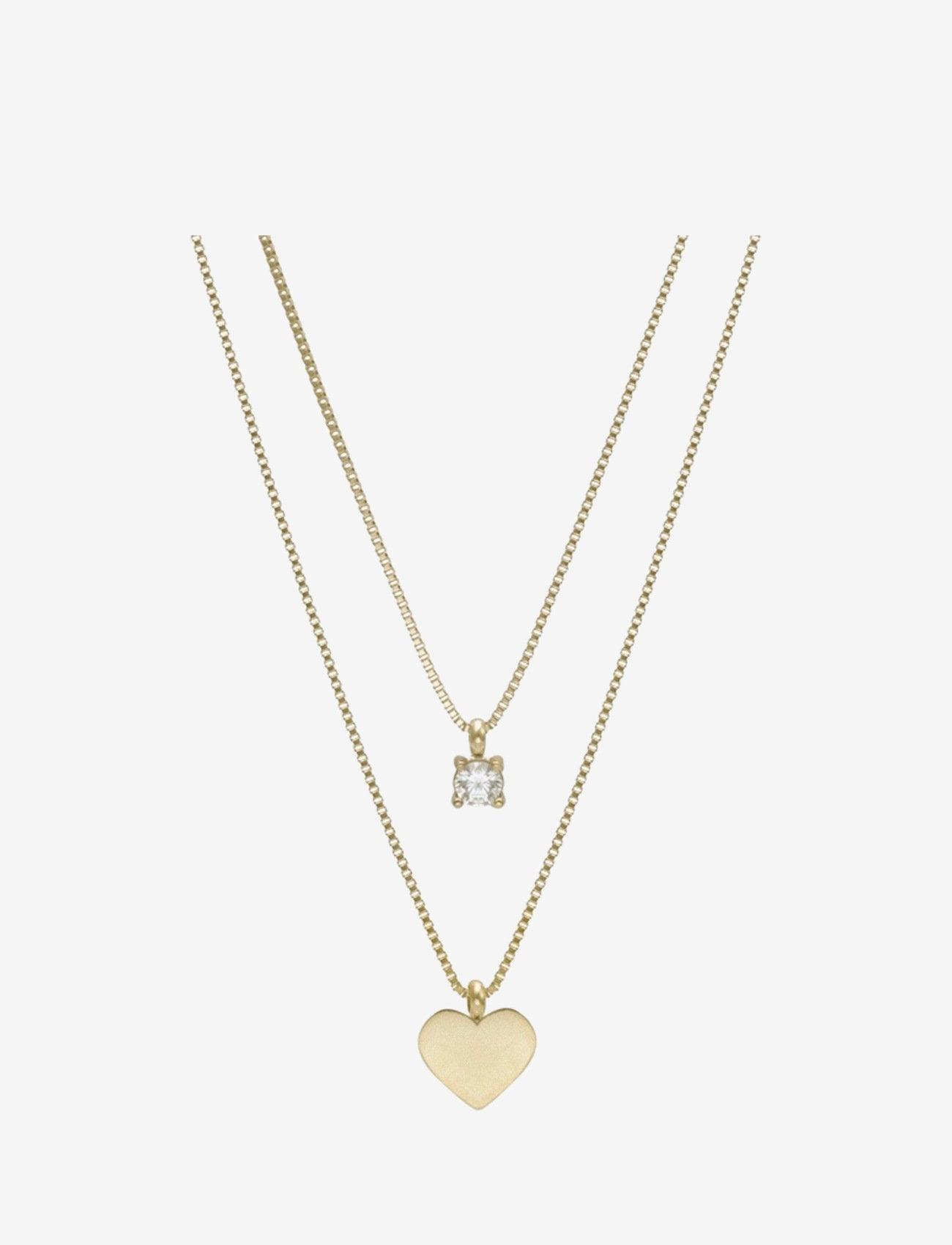 Bud to rose - Ice Heart Duo Necklace Steel - kettingen met hanger - gold - 0