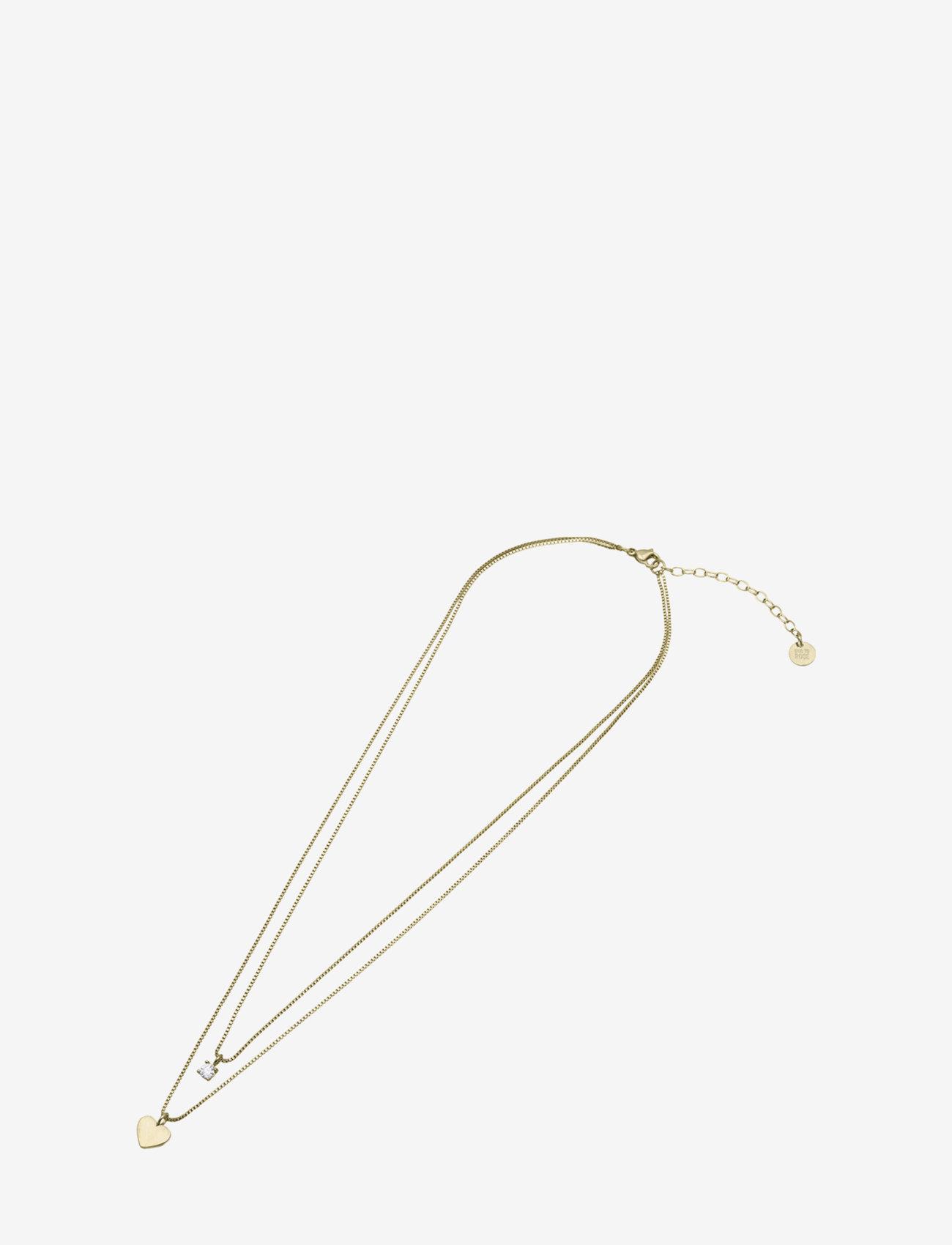 Bud to rose - Ice Heart Duo Necklace Steel - kettingen met hanger - gold - 1