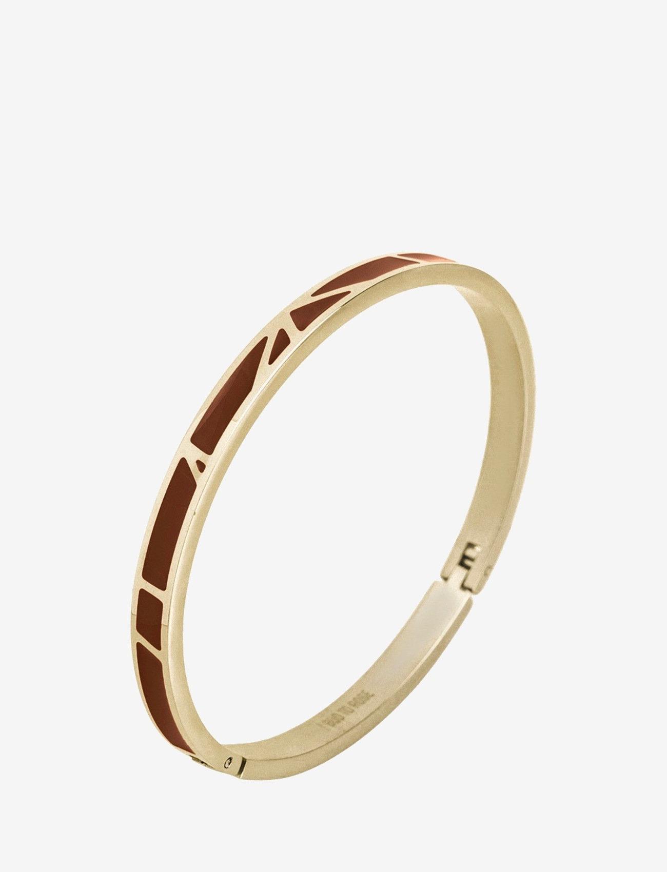 Bud to rose - Rose Enamel Bangle Brown/Gold - bangles - gold - 0