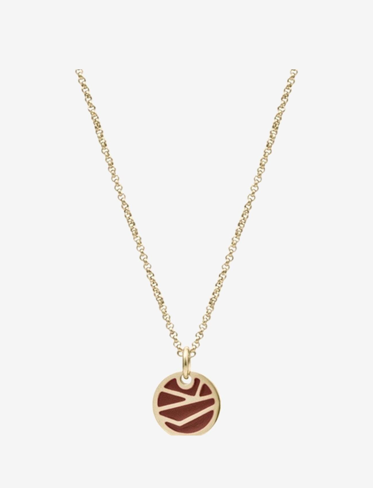 Bud to rose - Rose Enamel Short Necklace Brown/Gold - kettingen met hanger - silver - 0