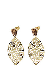 Leaf Crystal Small Earring - BROWN