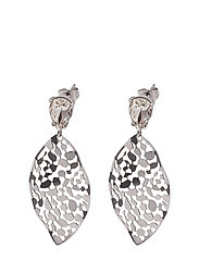 Leaf Crystal Small Earring - SILVER