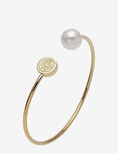 Ross Pearl Bangle Steel - bangles - gold