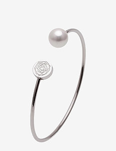 Ross Pearl Bangle Steel - bangles - silver