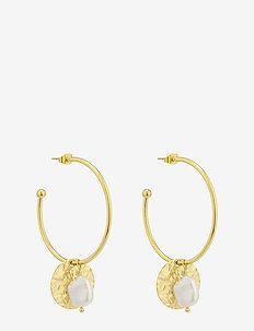 Devious Pearl Hoop Earring Steel - creoler - gold