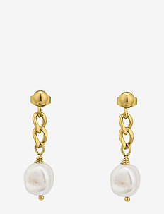 Devious Pearl Chain Earring Gold - GOLD