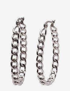 Chain Hoop Earring Steel - SILVER
