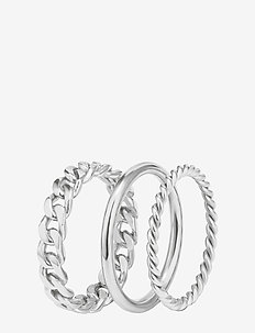Chain Trio Ring Steel - sormukset - silver