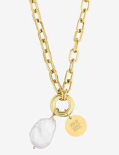 Devious Pearl Long Link Necklace - statement necklaces - gold