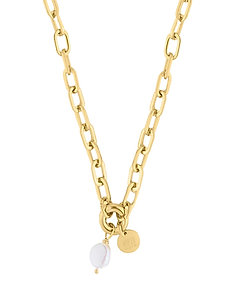 Devious Pearl Short Link Necklace - statement necklaces - gold