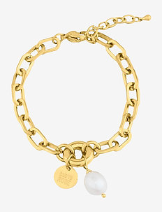 Devious Pearl Link Bracelet - dainty - gold