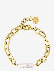 Long Pearl Bracelet - dainty - gold