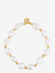 Pearl Elastic Bracelet - dainty - gold