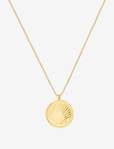 Shell Coin Short Necklace - pendant necklaces - gold