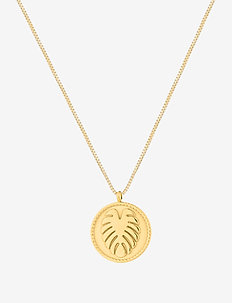 Palmleaf Coin Short Necklace - dainty necklaces - gold