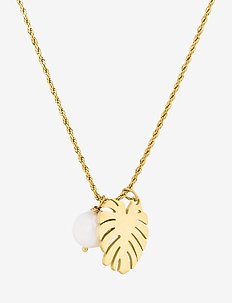 Palmleaf Long Necklace - dainty necklaces - gold