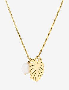 Palmleaf Long Necklace - halskæder - gold