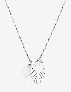 Palmleaf Long Necklace - dainty necklaces - silver