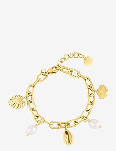 Beach Charm Bracelet - dainty - gold