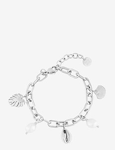 Beach Charm Bracelet - dainty - silver