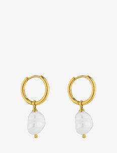 Pearl Hoop Earring Gold - hengende øreringer - gold