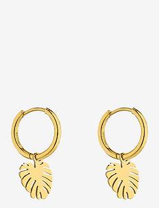 Palmleaf Hoop Earring - pendant - gold