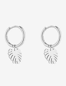 Palmleaf Hoop Earring - pendant - silver