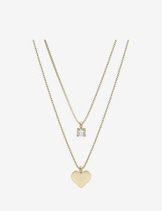 Ice Heart Duo Necklace Steel - kettingen met hanger - gold