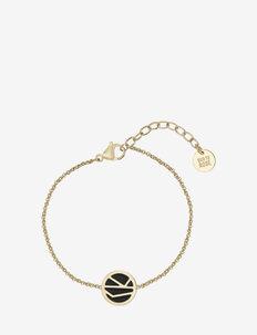Rose Enamel Bracelet Brown/Gold - dainty - black gold