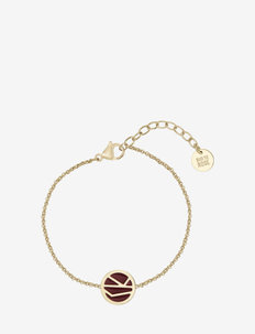 Rose Enamel Bracelet Brown/Gold - dainty - gold