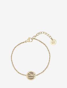 Rose Enamel Bracelet Brown/Gold - dainty - sand gold