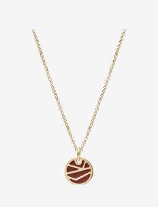 Rose Enamel Short Necklace Brown/Gold - kettingen met hanger - silver