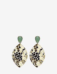 Crystal Leaf Earring - GREEN/GOLD
