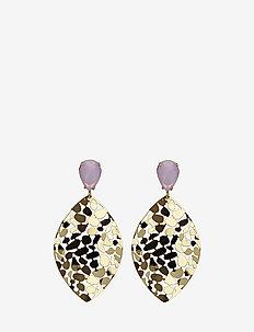 Crystal Leaf Earring - PINK/GOLD