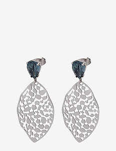 Leaf Crystal Small Earring - BLUE