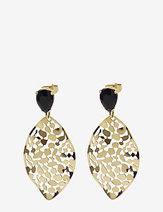 Leaf Crystal Small Earring - GOLD